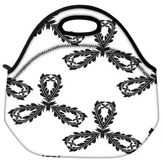 Snoogg Black Pattern Travel Outdoor CTote Lunch Bag