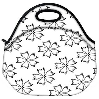 Snoogg White Flower Travel Outdoor CTote Lunch Bag
