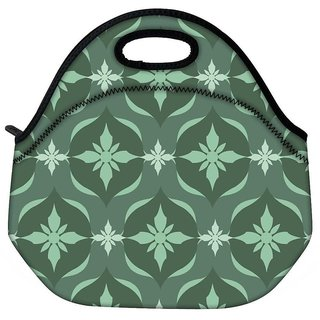 Snoogg Green Floral Pattern Travel Outdoor CTote Lunch Bag