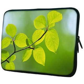 Snoogg Green Leaves Plants 10.2 Inch Soft Laptop Sleeve
