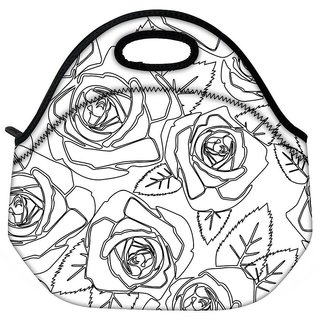 Snoogg Black Roses White Pattern Travel Outdoor Tote Lunch Bag
