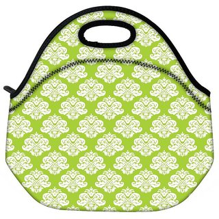 Snoogg Abstract White Green Pattern Travel Outdoor CTote Lunch Bag
