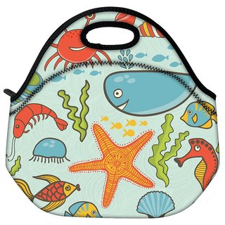 Snoogg Fish World Blue Pattern Travel Outdoor CTote Lunch Bag