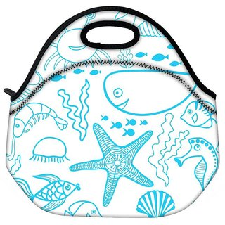 Snoogg Fish World White Pattern Travel Outdoor CTote Lunch Bag