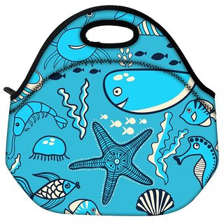 Snoogg Neon Fish Water Color Travel Outdoor CTote Lunch Bag