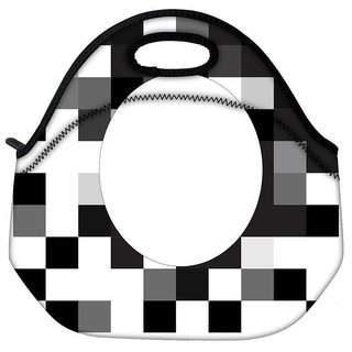 Snoogg Black And White Travel Outdoor CTote Lunch Bag