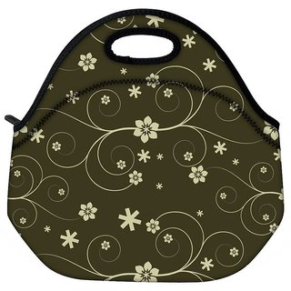 Snoogg Cream Flower Travel Outdoor CTote Lunch Bag