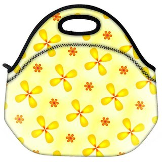 Snoogg Yellow Flower Travel Outdoor CTote Lunch Bag