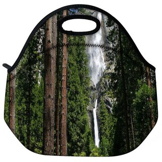 Snoogg Waterfall In Forest Travel Outdoor Tote Lunch Bag