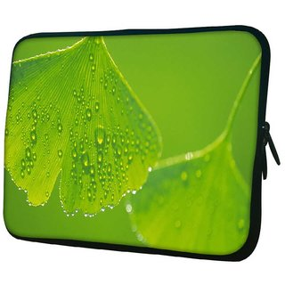 Snoogg Green Leaves 10.2 Inch Soft Laptop Sleeve
