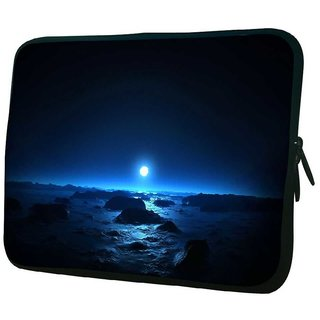 Snoogg Blue Moon 10.2 Inch Soft Laptop Sleeve