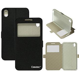 Casotec Premium Kickstand Caller-id Flip Case Cover with Snap Button Closure for HTC Desire 816 - Black
