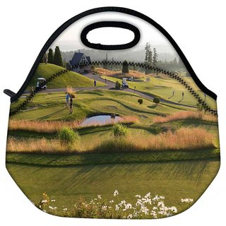 Snoogg People Playing Golf Travel Outdoor Tote Lunch Bag