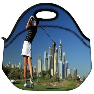 Snoogg Girl Playing Golf Travel Outdoor Tote Lunch Bag
