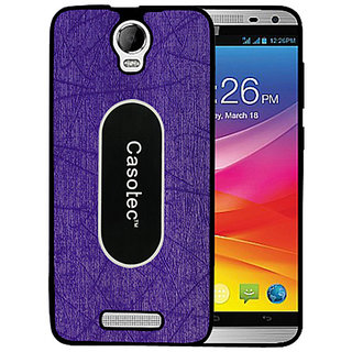 Casotec Metal Back TPU Back Case Cover for Micromax Canvas Juice 2 AQ5001 - Purple