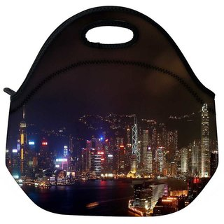 Snoogg Colorful City At Night Travel Outdoor Tote Lunch Bag