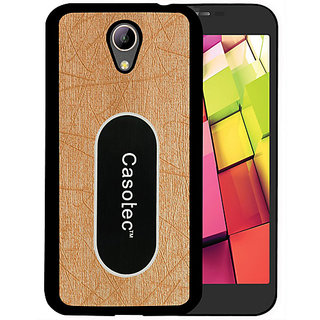 Casotec Metal Back TPU Back Case Cover for Intex Aqua 4G Plus - Gold