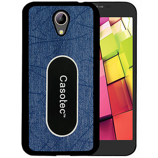Casotec Metal Back TPU Back Case Cover for Intex Aqua 4G Plus - Dark Blue
