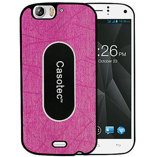 Casotec Metal Back TPU Back Case Cover for Micromax Canvas Turbo A250 - Pink