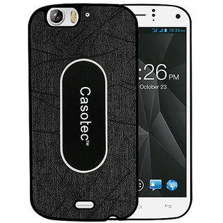 Casotec Metal Back TPU Back Case Cover for Micromax Canvas Turbo A250 - Black