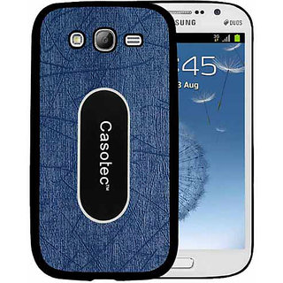 Casotec Metal Back TPU Back Case Cover for Samsung Galaxy Grand i9082 - Dark Blue
