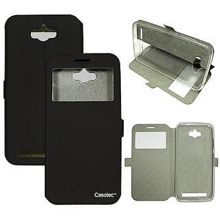 Casotec Premium Kickstand Caller-id Flip Case Cover with Snap Button Closure for Asus Zenfone Max ZC550KL - Black