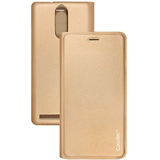 Casotec Premium Flip Case Cover with Invisible Magnet Closure for Lenovo Vibe K5 Note - Gold