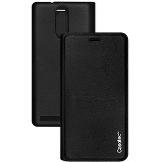 Casotec Premium Flip Case Cover with Invisible Magnet Closure for Lenovo Vibe K5 Note - Black