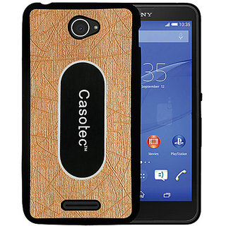 Casotec Metal Back TPU Back Case Cover for Sony Xperia E4 - Gold