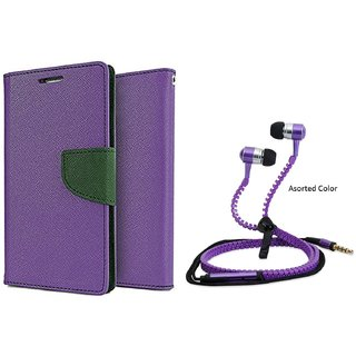 Micromax Canvas Juice 2 AQ5001 WALLET FLIP CASE COVER (PURPLE) With Zipper Earphone