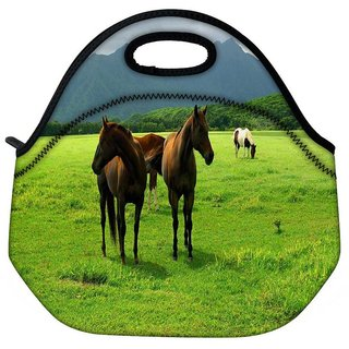 Snoogg White Horses Travel Outdoor Tote Lunch Bag