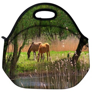 Snoogg Small Horses Travel Outdoor Tote Lunch Bag