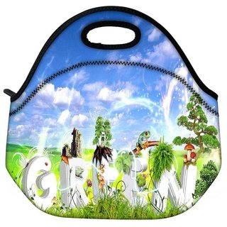 Snoogg Green Travel Outdoor Tote Lunch Bag