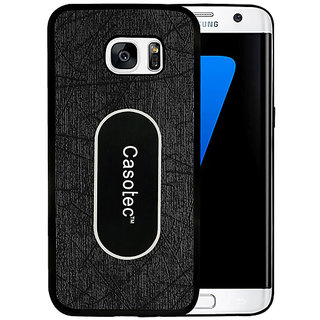 Casotec Metal Back TPU Back Case Cover for Samsung Galaxy S7 Edge - Black