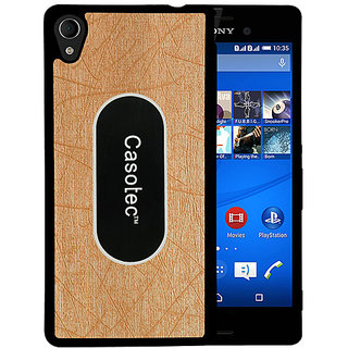 Casotec Metal Back TPU Back Case Cover for Sony Xperia M4 Aqua - Gold