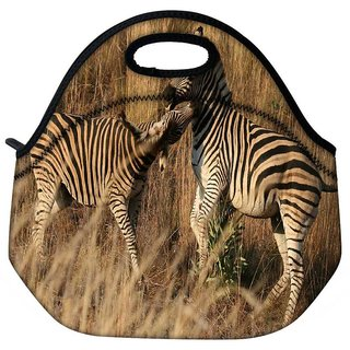 Snoogg Couple Zebra Travel Outdoor Tote Lunch Bag
