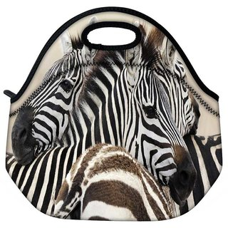 Snoogg Black And White Zebra Travel Outdoor Tote Lunch Bag