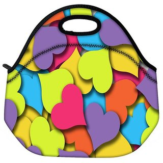 Snoogg Multiple Hearts Travel Outdoor Tote Lunch Bag