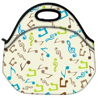 Snoogg Multicolor Music Travel Outdoor Tote Lunch Bag