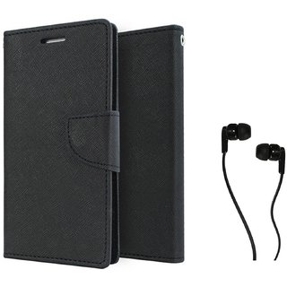 Samsung Galaxy J5  WALLET FLIP CASE COVER (BLACK) With 3.5 MM JACK Earphone
