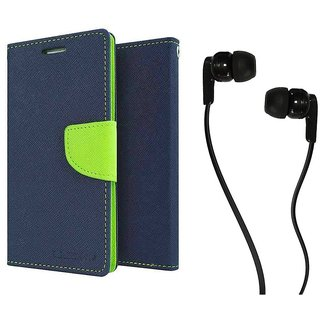 Samsung Galaxy S7 WALLET FLIP CASE COVER (BLUE) With 3.5 MM JACK Earphone