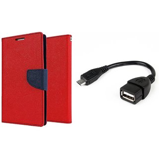 Motorola Moto E2 WALLET FLIP CASE COVER (RED) With OTG CABLE