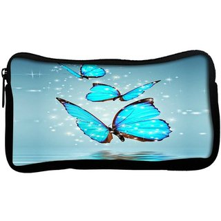 Snoogg Blue Butterfly digitalPoly Canvas  Multi Utility Travel Pouch