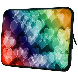 Snoogg Colored Hearts 10.2 Inch Soft Laptop Sleeve