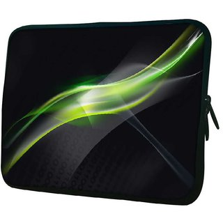 Snoogg Abstract Green And Grey Design 10.2 Inch Soft Laptop Sleeve