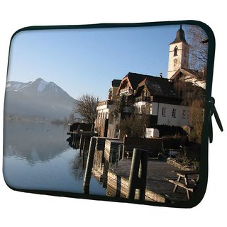 Snoogg Lake Side House 10.2 Inch Soft Laptop Sleeve