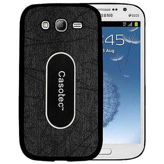 Casotec Metal Back TPU Back Case Cover for Samsung Galaxy Grand i9082 - Black