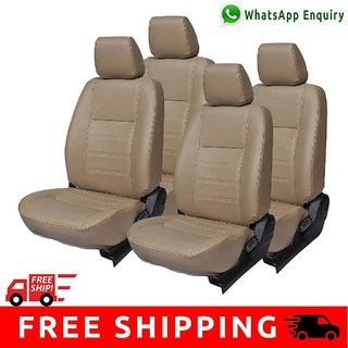 Hi Art Beige Leatherite Custom Fit Seat Covers for Renault Kwid