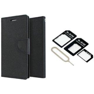 Samsung Galaxy Core Prime (SM-G360) WALLET FLIP CASE COVER (BLACK) With NOOSY NANO SIM ADAPTER