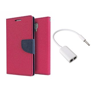 Micromax Unite 3 Q372 WALLET FLIP CASE COVER (PINK) With AUX SPLITTER